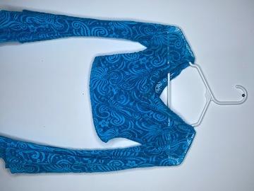 Used: Crop top long sleeve flared mesh top
