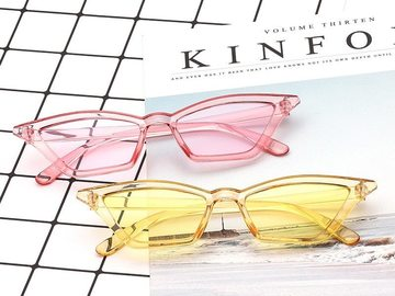 New: Color Retro Clear Frame Sunglasses