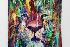New: Colorful Lion Tapestry