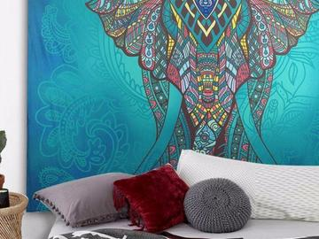 New: Turquoise Elephant Tapestry
