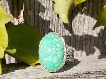 Handmade: Chrysoprase Flower SS Ring (9)