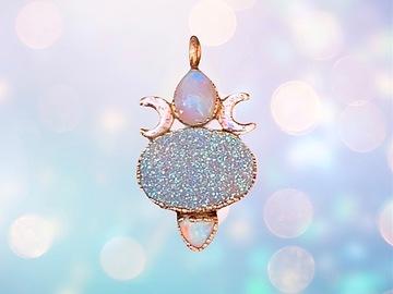 Handmade: Handmade copper Electroformed moon goddess necklace